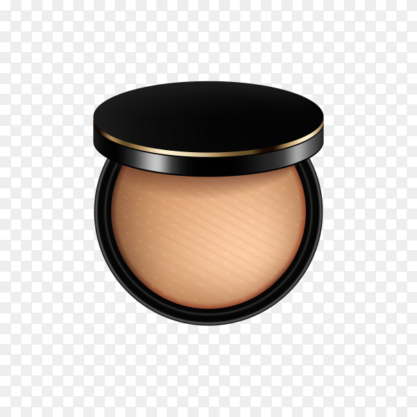 Compact powder in black container on transparent background PNG