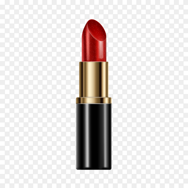 Cosmetic lipstick makeup in red color on transparent background PNG