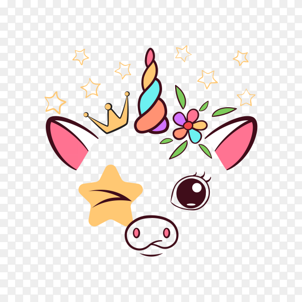 Cow unicorn pattern on transparent background PNG
