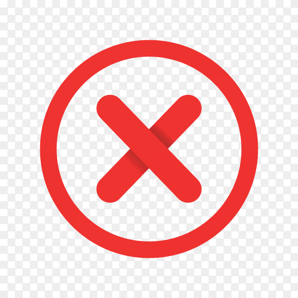 Cross mark isolated on transparent background PNG