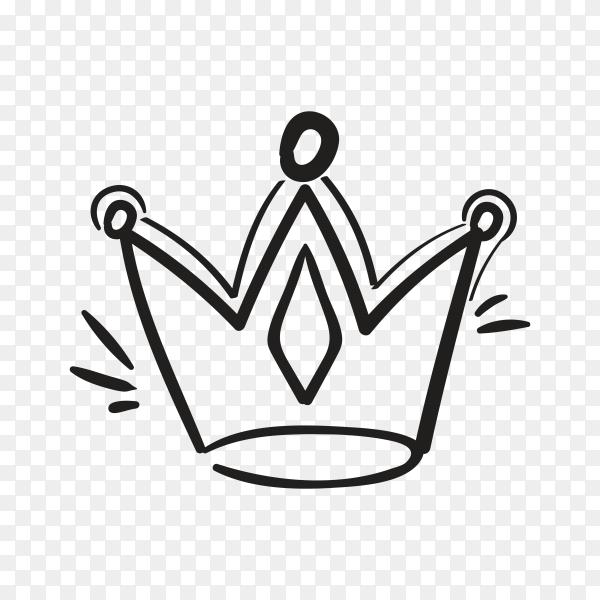 Crown Hand drawn logo illustration on transparent background PNG