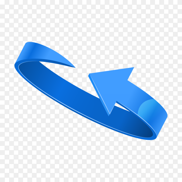 Curved Blue 3d glossy arrow on transparent background PNG