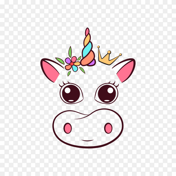 Cute cow unicorn on transparent background PNG