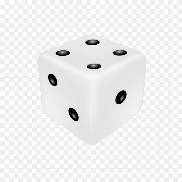Dice in white color on transparent background PNG