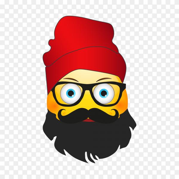 Flat design emoji face icon on transparent background PNG