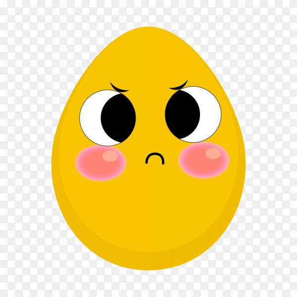 Funny emoji egg symbol on transparent background PNG