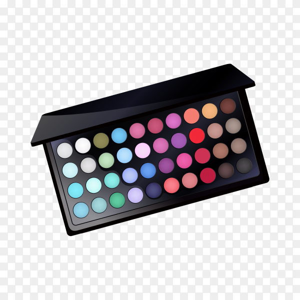 Glamorous eye shadow palette on transparent background PNG