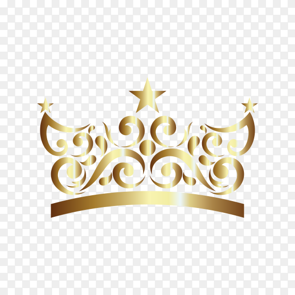 Gold Ornament In Crown Shaped premium vector PNG