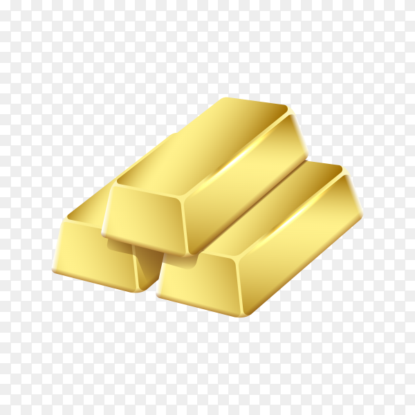 Gold bank bars on transparent background PNG