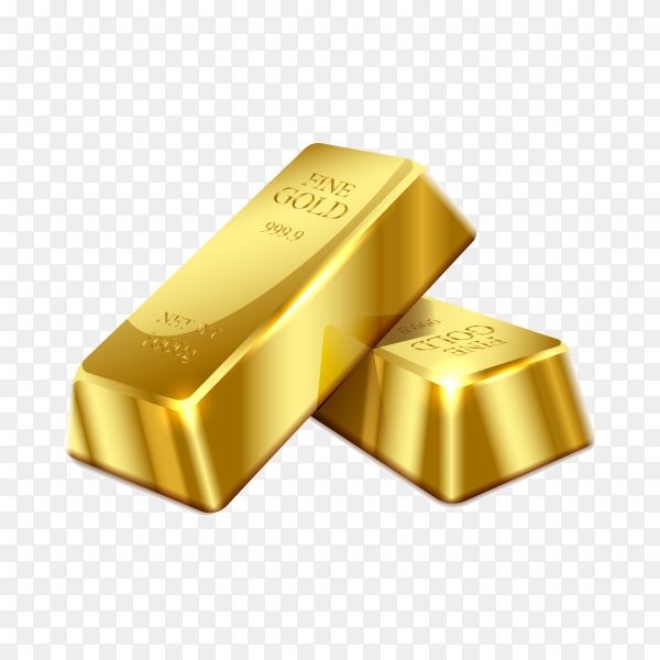 Gold bar isolated on transparent background PNG