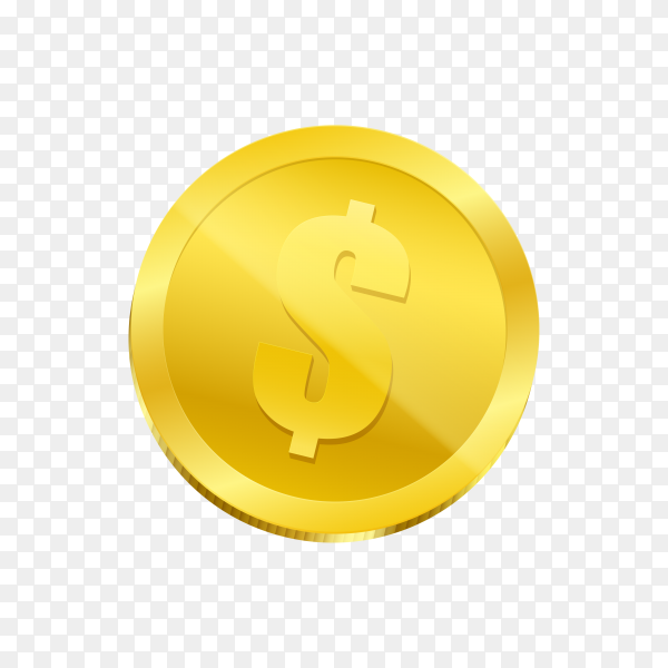 Gold coin icon isolated on transparent background PNG