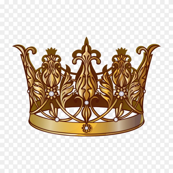 Gold crown of the king on transparent background PNG