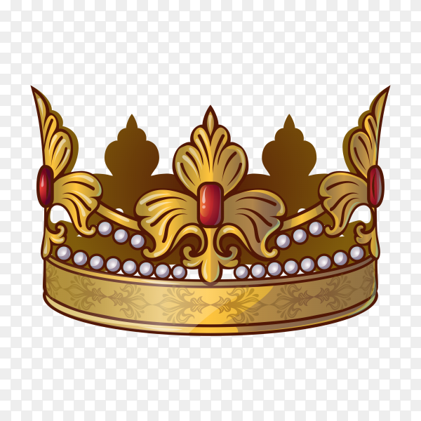 Gold crown of the king premium vector PNG