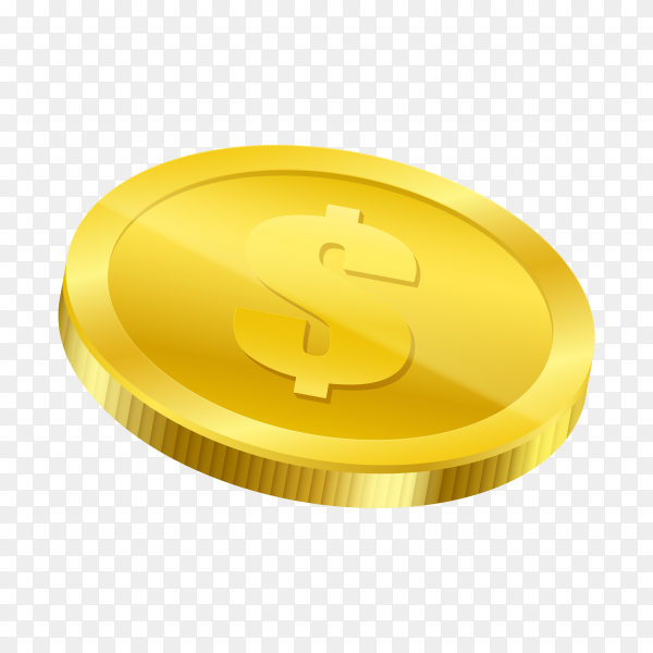 Golden coin on transparent background PNG
