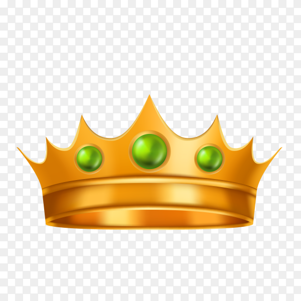 Golden crown on transparent background PNG