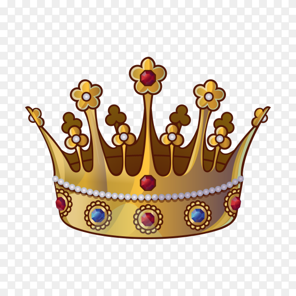 Golden crowns with gems for king or queen isolated on transparent background PNG