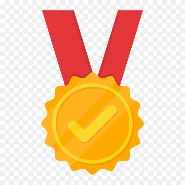 Golden medal with tick icon on transparent background PNG