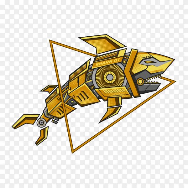 Golden robot shark steampunk illustration on transparent background PNG