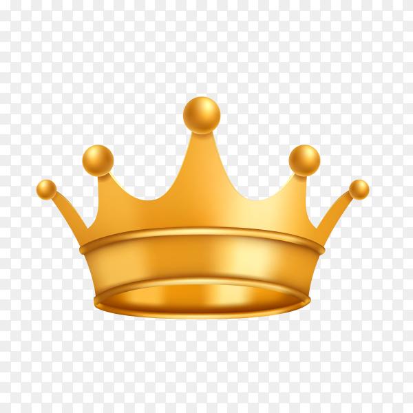 Golden shiny crown on transparent background PNG