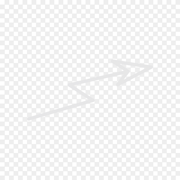 Hand drawn arrow. Doodle arrow isolated on transparent PNG