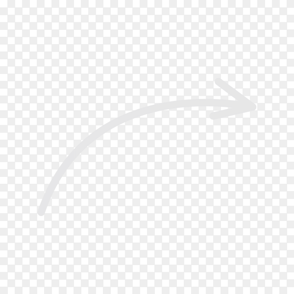 Hand drawn arrow. Doodle arrow on transparent background PNG