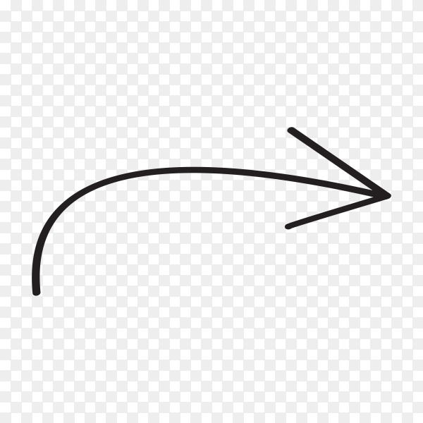 Hand drawn arrow mark icon isolated premium vector PNG