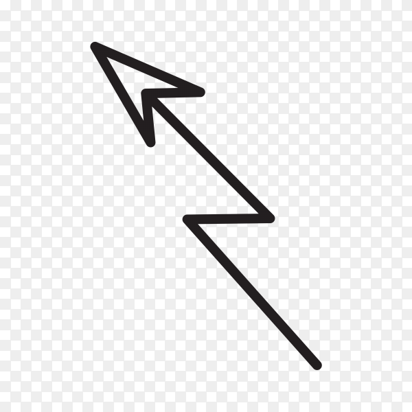Hand drawn arrow mark icon on transparent PNG