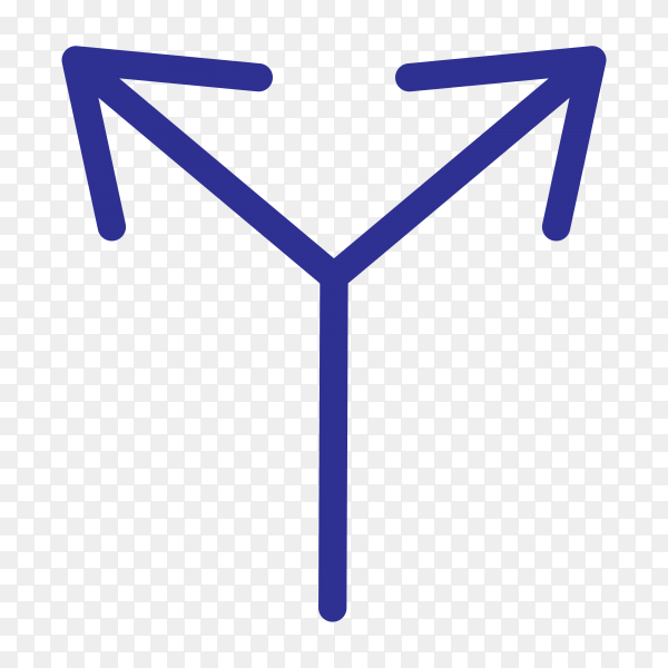 Hand drawn blue arrow with doodle style isolated on transparent background PNG