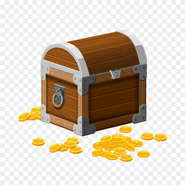 Hand drawn chest with gold coins treasures on transparent background PNG