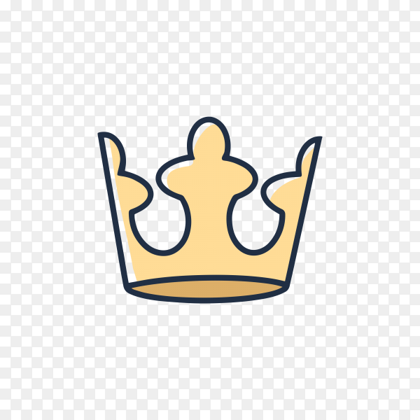 Hand drawn crown design on transparent background PNG