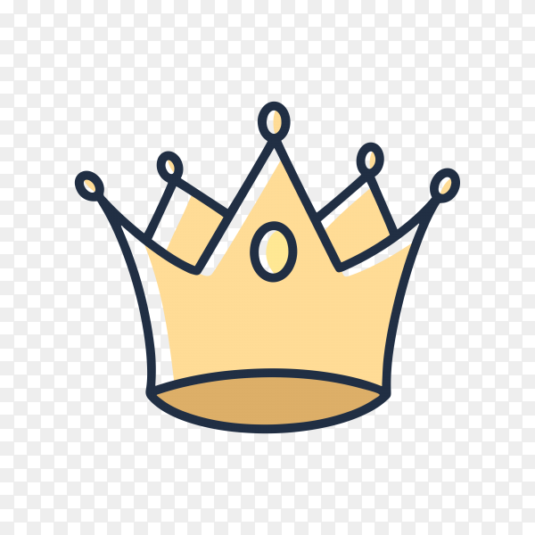 Hand drawn crown icon on transparent background PNG