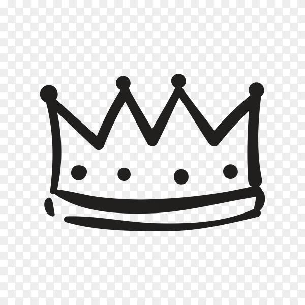 Hand drawn crown illustration on transparent background PNG