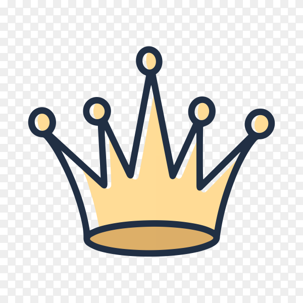 Hand drawn crown in yellow color on transparent background PNG
