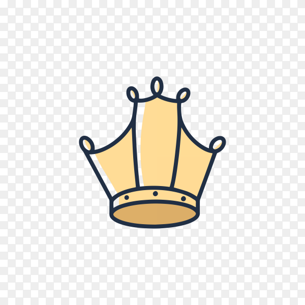 Hand drawn doodle crown icon on transparent background PNG