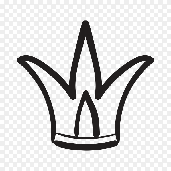 Hand drawn doodle crown isolated on transparent background PNG