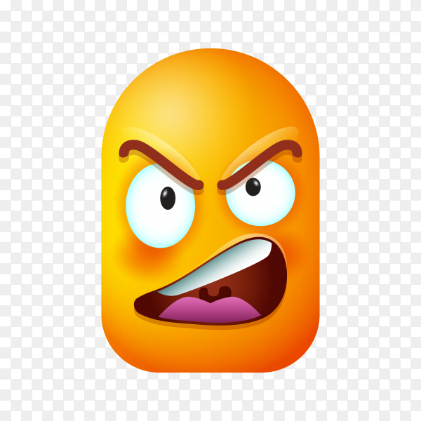 Hand drawn emoji face icon on transparent background PNG