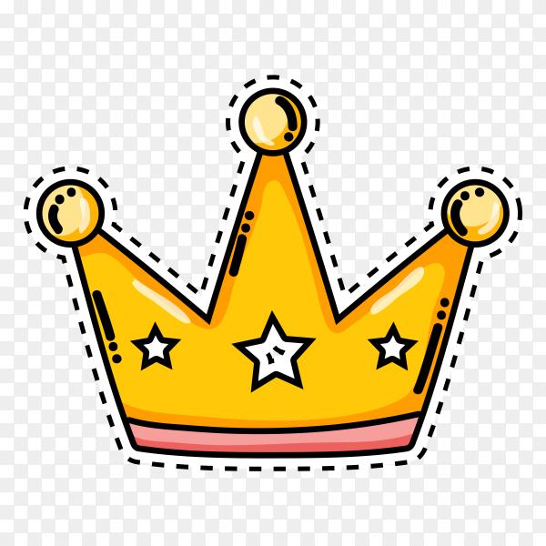 Illustration of cartoon crown on transparent background PNG