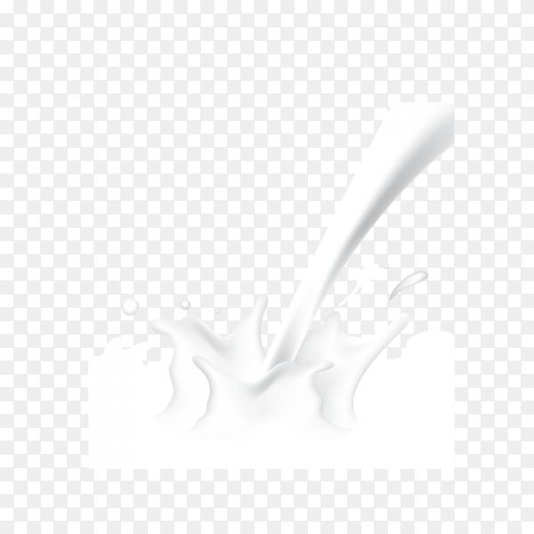 Illustration of milk splash and pouring on transparent background PNG