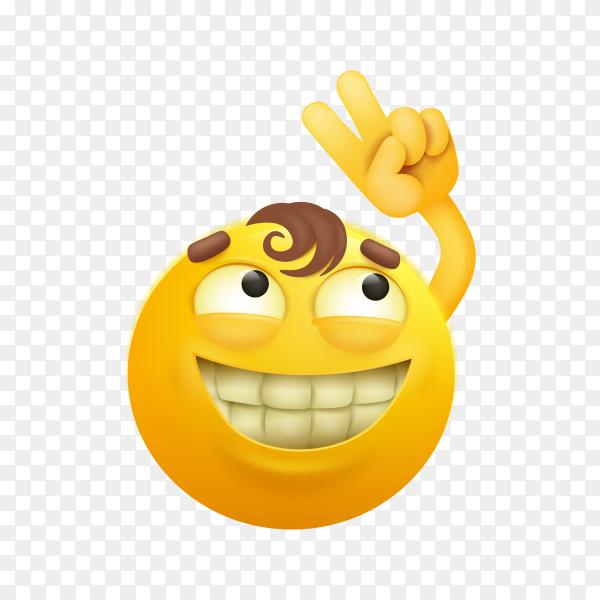 Illustration of yellow emoji face premium vector PNG