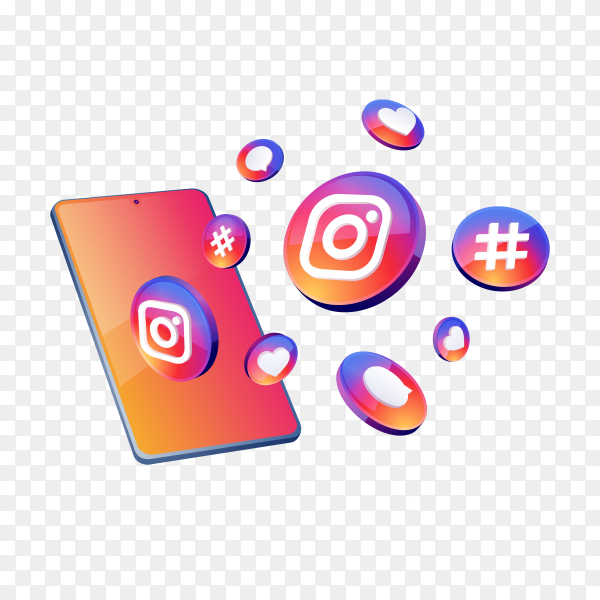 Instagram 3d social media icons with smartphone symbol on transparent background PNG