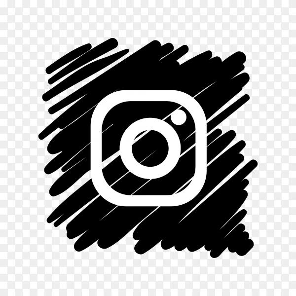 Instagram icon design with dark black brush on transparent background PNG