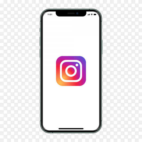 Iphone with Instagram logo on screen on transparent background PNG