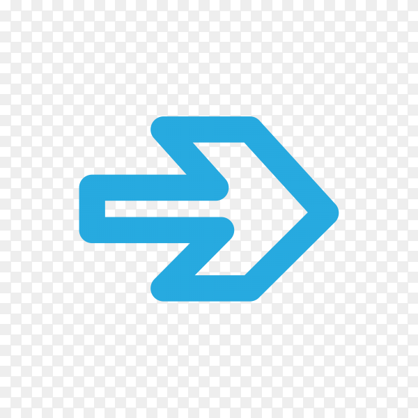 Isolated blue arrow on transparent background PNG