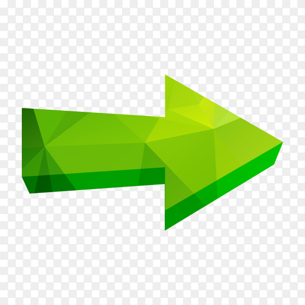 Isolated triangle polygonal arrow premium vector PNG