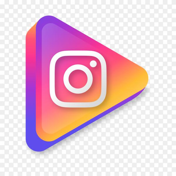Modern Instagram icon in flat design on transparent background PNG