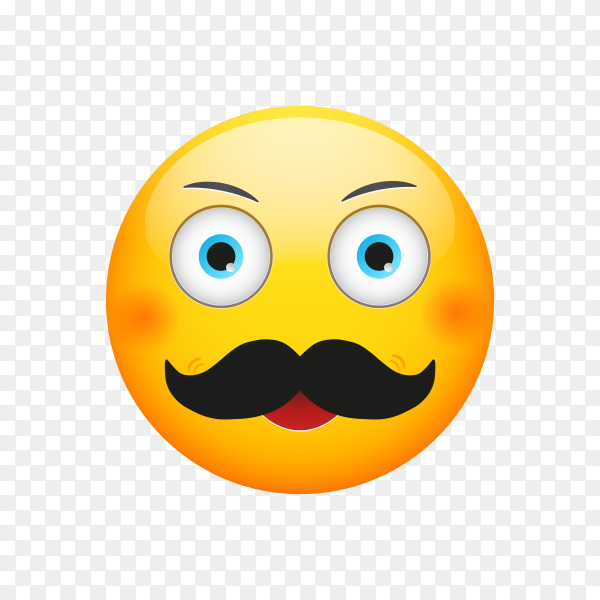 Mustache Emoji Icon on transparent background PNG