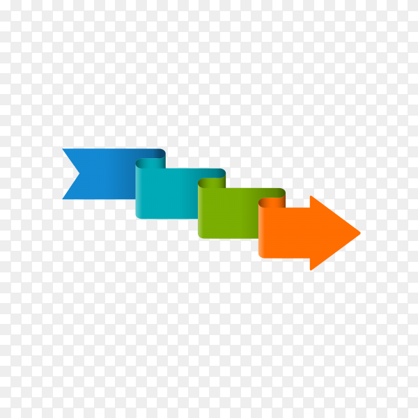 Multicolored 3D glossy arrow on transparent background PNG