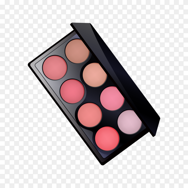 Palette of cosmetic eye shadow on transparent background PNG