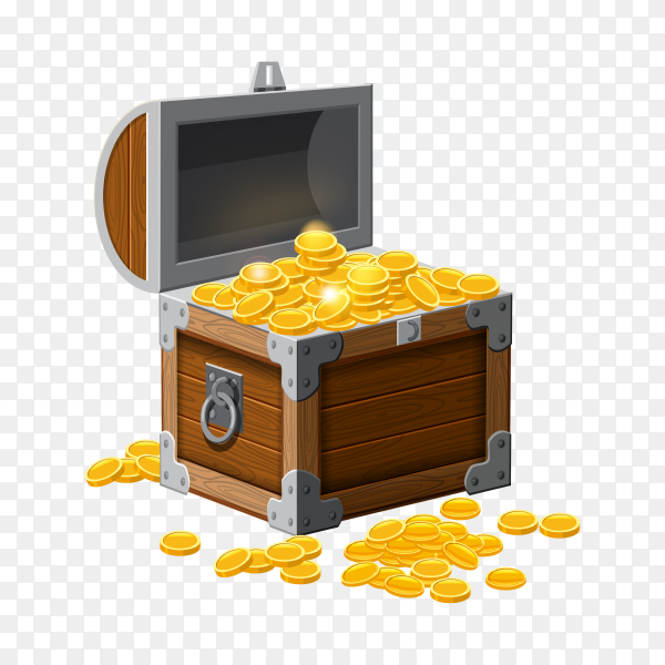 Pirate trunk chest with gold coins treasures on transparent background PNG