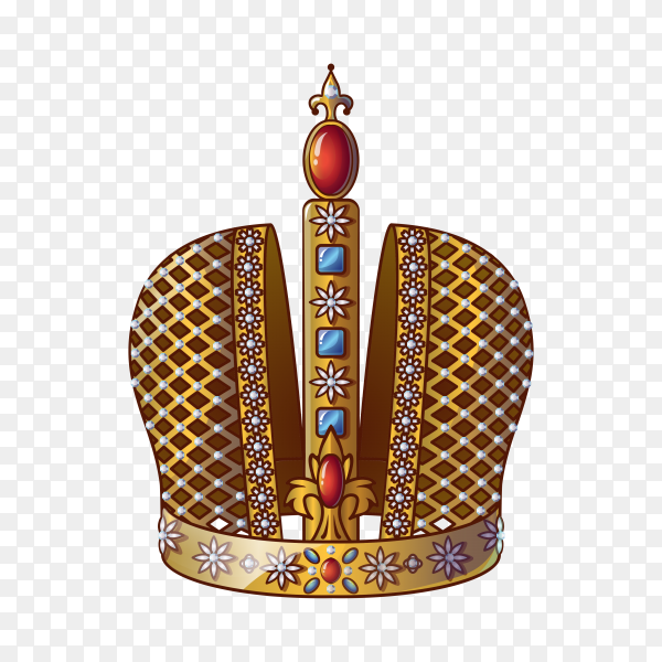 Queen gold crown and diadem royal on transparent background PNG
